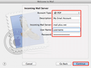 Plusnet Incoming Mail settings for Apple
