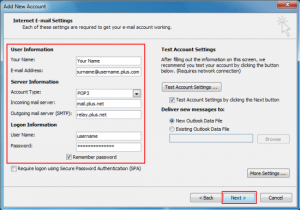 Plusnet Outlook settings for Windows