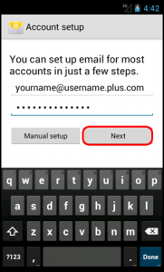 Plusnet Webmail settings on Android