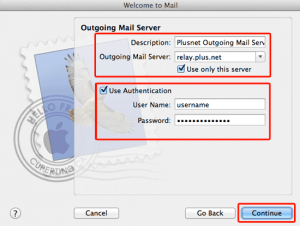 Plusnet outgoing mail settings Apple